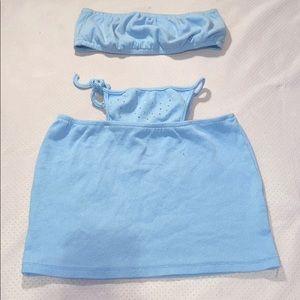 Blue skirt and tube top set